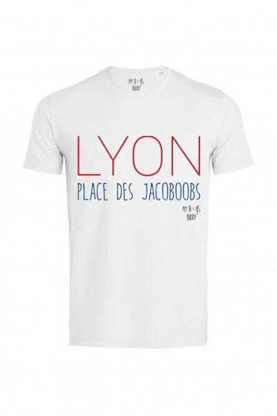 Lyon : Place des Jacoboobs tshirt homme blanc