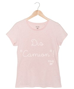 dis-camion-tshirt rose chiné