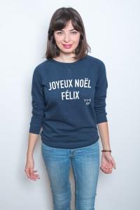 joyeux noel felix sweat femme bleu